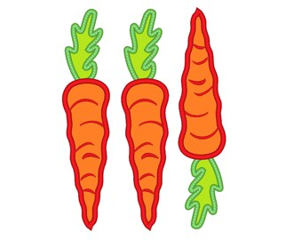 Carrots 3 and carrot -  machine embroidery applique designs - 4x4, 5x7   INSTANT DOWNLOAD