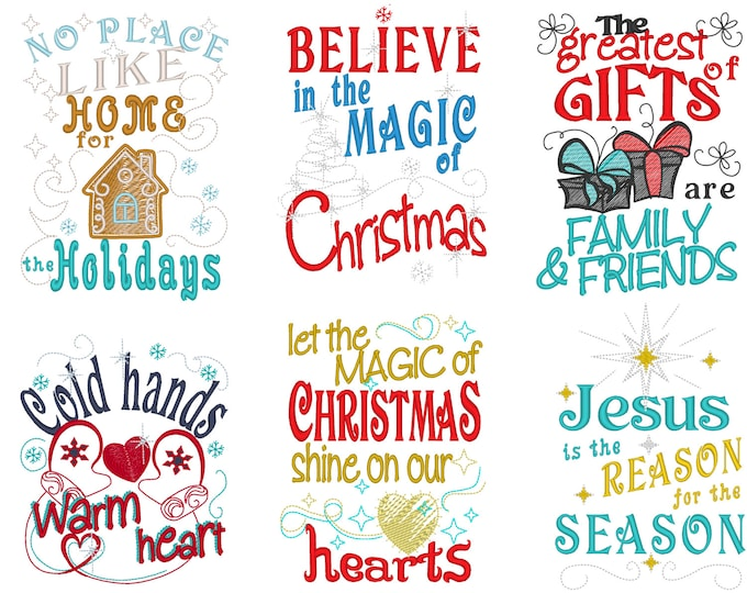 Christmas price for Beautiful Christmas quotes - awesome gift preparing set - machine embroidery designs - 5x7 INSTANT DOWNLOAD