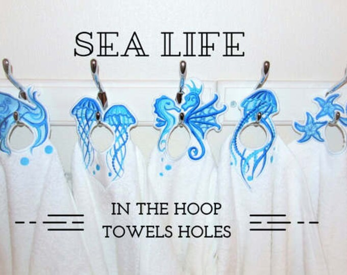 Octopus, jellyfish, seahorse, star fish, 5 In The Hoop machine embroidery design, ITH project Towel topper, hanger, hanging hole embroidery