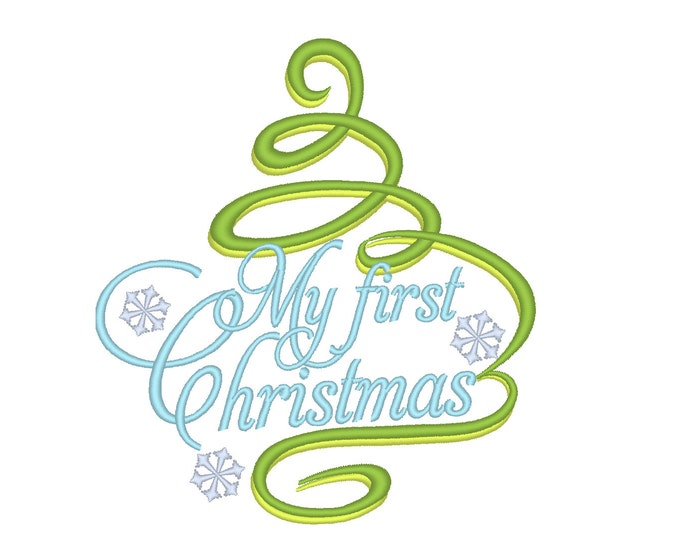 My First Christmas, Christmas tree curly damask embroidery designs, for hoops 4x4 and 5x7 INSTANT DOWNLOAD