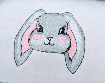 Bunny head Easter bunny face machine embroidery designs Easter bunny face embroidery fill