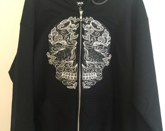 Skull lace applique split hoodie embroidery - Machine embroidery applique designs -  5, 6 and 7 inches  INSTANT DOWNLOAD