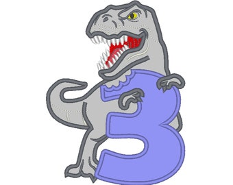 T-rex dinosaur Birthday number three 3 machine embroidery Birtday outfit designs, assorted sizes, for hoops 5x7, 6x10  INSTANT DOWNLOAD