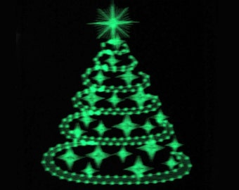 Sparkling and glowing Christmas tree, swirl and curl glow in the dark special machine embroidery design for hoop 4x4, 5x7 INSTANT DOWNLOAD