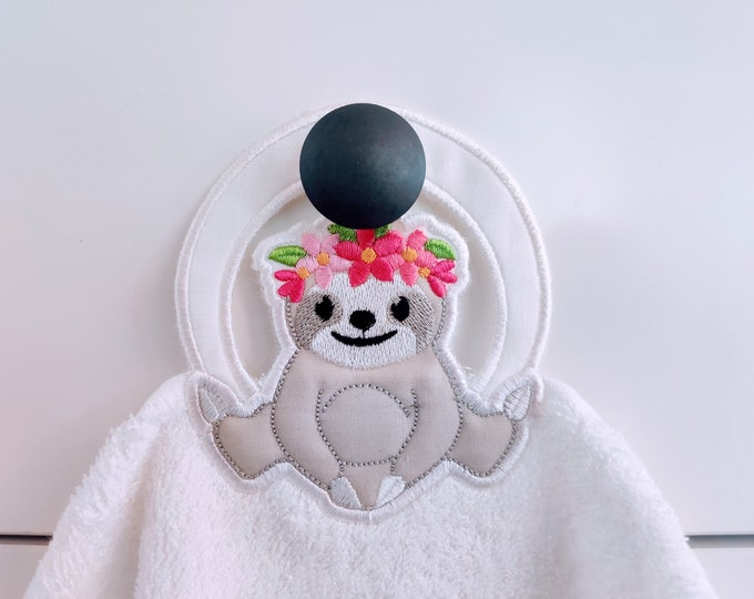 Sloth with flowers, Sloth floral crown towel hanging topper hole In The Hoop machine embroidery design, ITH project Towel topper, hanger