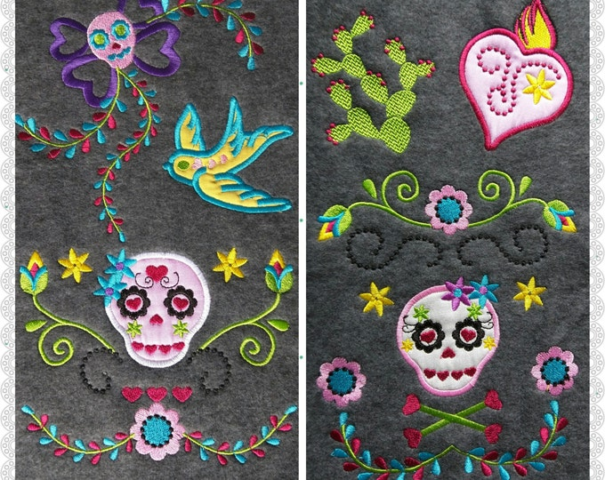 Sugar skulls kids style Day of the dead collection - applique designs for hoops 4x4 and 5x7