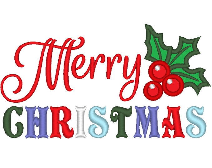 Merry Christmas, simple Merry Christmas saying, Merry Christmas wishes, - machine embroidery designs 4x4, 5x7 and 6x10 INSTANT DOWNLOAD