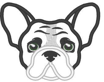 French bulldog face adorable applique design 4x4, 5x7  bulldog applique designs
