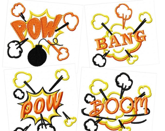 DISCOUNT 30 OFF Boom, Pow, pow, bang!  machine embroidery designs, accent designs