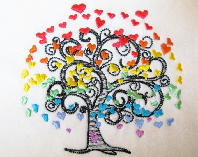Rainbow Love tree sketch stitch embroidery designs  4x4, 5x7, 6x10