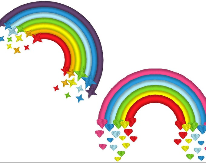 Cute Rainbows - set of two - machine embroidery applique designs, 4x4 adn 5x7 INSTANT DOWNLOAD