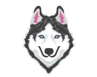 Husky face, light stitch Husky head embroidery design, Husky Embroidery Design - machine embroidery designs 4x4 5x7