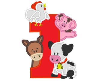 Farm birthday number ONE 1 with cow, pig, horse and rooster - cute farm theme machine embroidery applique design  5x7 6x10 assorted sizes