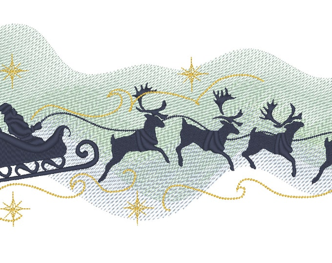 Merry Christmas Polar Night glow sky Santa Sleigh with Deer for hoops 4x4 5x7, 6x10 and 8x12 Banner Garden flag family embroidery designs