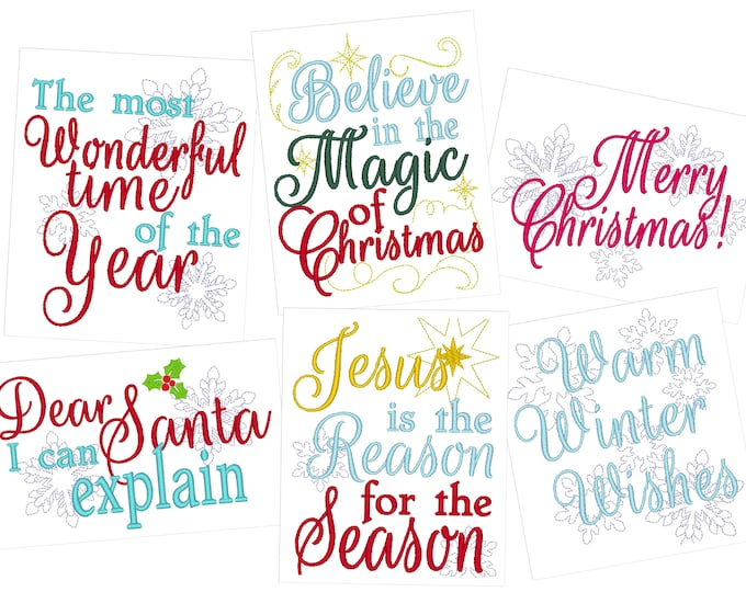 Merry Christmas quotes 4x4 5x7 machine embroidery - towels New Year and Santa, Christmas magic and Most wonderful machine embroidery designs