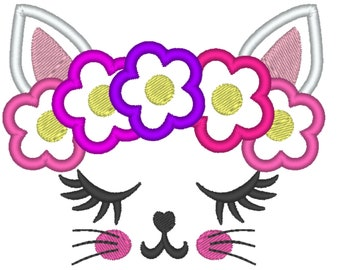 Simply Kitty face with shabby chick roses crown applique machine embroidery applique embroidery design cat head kitty
