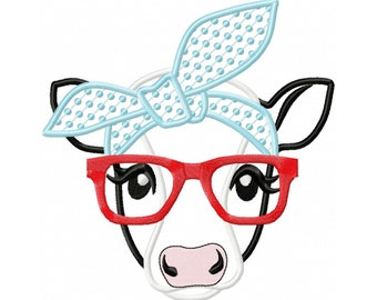 Cow face, cow head, cow with bandanna and glasses, Farm animal cow stylish applique, cowhandkerchief applique machine embroidery designs