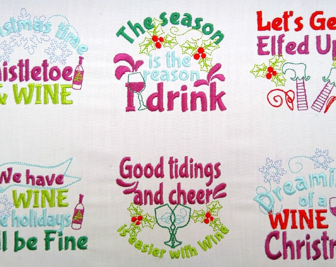 Merry Christmas Wine lovers quotes... awesome towel or wine bag decoration, unique kit - machine embroidery designs - for hoops 4x4 5x7