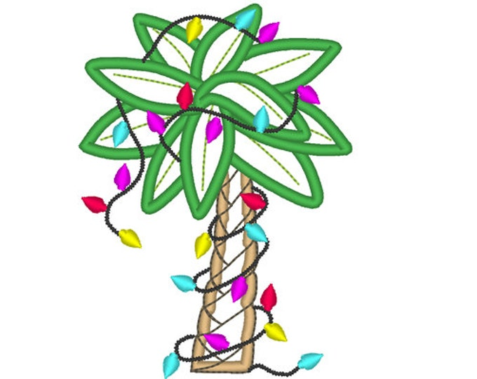 Christmas Tropical Holiday Palm Tree  - machine embroidery applique and fill stitch designs - for hoops 4x4, 5x7, 6x10  INSTANT DOWNLOAD