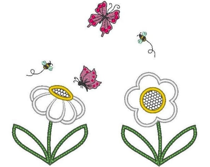 Butterflies, bee mini and flowers set - machine embroidery applique designs, file - 4x4 and 5x7 INSTANT DOWNLOAD