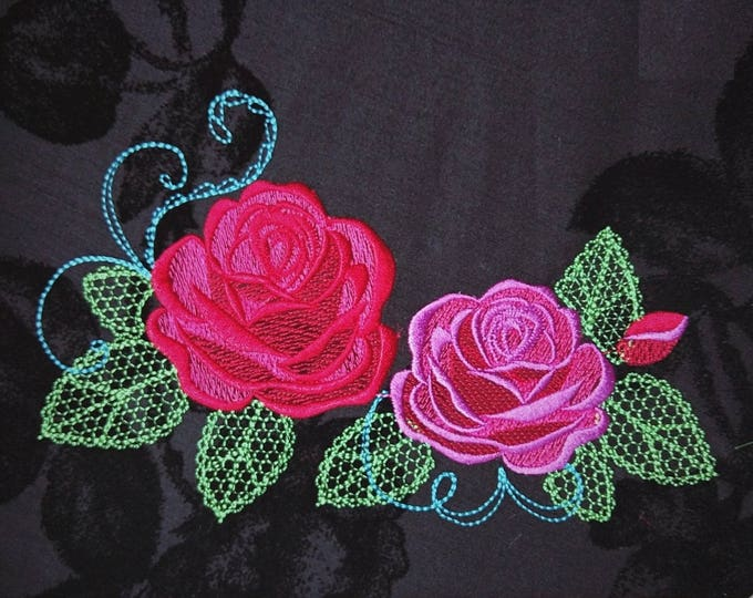 Two Urnban curl and swirl shadow and Shabby Chic Rose Urban roses - 2 designs set- machine embroidery designs for embroidery hoops 4x4 5x7