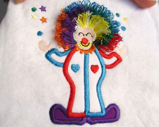 Clown / from circus set - single file - fringed edge - machine embroidery applique designs - 4x4 and 5x7