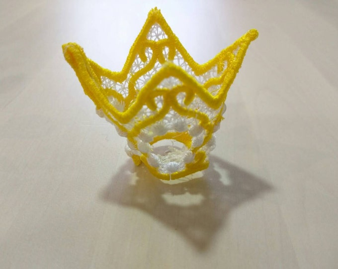 Lace princess little crown FSL, Free standing embroidery design  4x4  Used with water soluble stabilizer