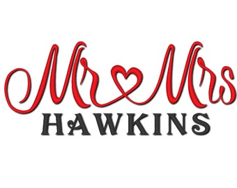 MR LOVE MRS wedding gift embroidery Mr and Mrs design 4x4 and 5x7, 6x10
