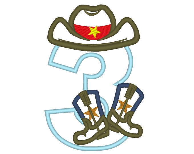 Cowboy Birthday number THREE 3 kicking boots number 3 machine embroidery applique designs for hoop 5x7 sizes 5 and 6 inches INSTANT DOWNLOAD
