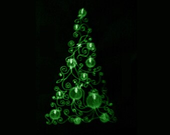 Christmas tree / Glow in the dark special designed machine embroidery / size  5x7 / file
