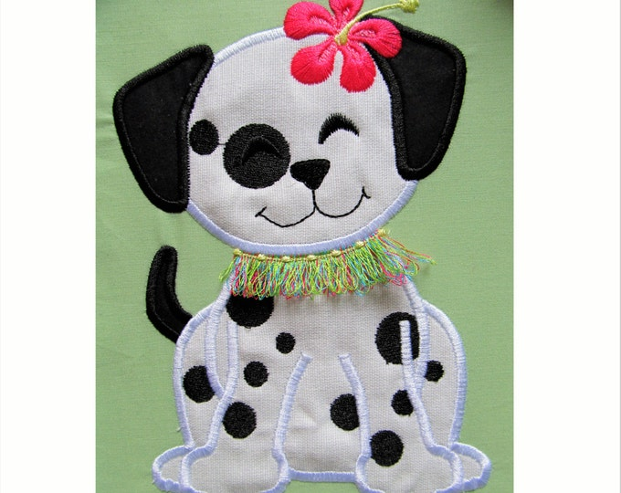 Aloha Hawaii flower puppy, dog applique embroidery -  machine embroidery applique designs - 4, 5, 6, 7 inches INSTANT DOWNLOAD