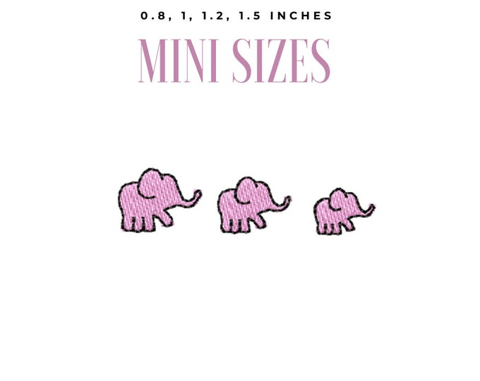 Elephants elephant micro embroidery designs, machine embroidery designs,  set less than one inch sizes elephant embroidery design wee micro