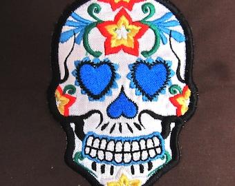 Day of the Dead Embroidered multicolored Skull, Calavera, Sugar Skull - machine embroidery design applique designs INSTANT DOWNLOAD 4x4, 5x7