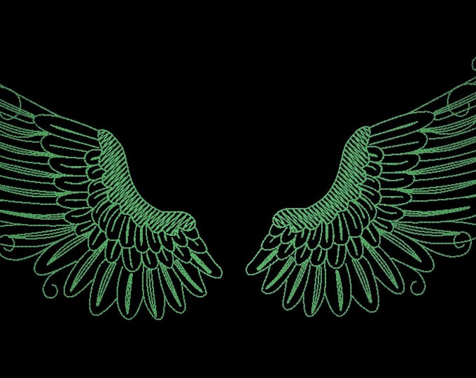 Angel wings/ Glow in the dark special designed machine embroidery / sizes 4x4, 5x7 and 6x10 / file  INSTANT DOWNLOAD