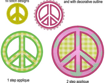 Peace sign - machine embroidery applique and fill stitch designs, instant download - multiple sizes for hoop 4x4, 5x7 and 6x10 inches