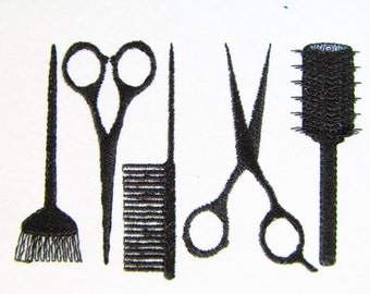 Hairdresser tools embroidery designs, collection  4x4, 5x7, 6x10
