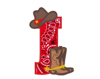 Cowboy personalized Custom Letter or number, only one any letter to choose from the set - machine embroidery applique designs 5x7