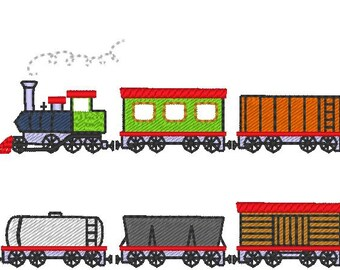 Train with various wagons MINI - machine embroidery files for embroidery  - 1 inch  INSTANT DOWNLOAD