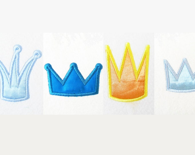 Little King or Princes mini crowns - machine embroidery applique designs, good for baby cloth decoration - instant download