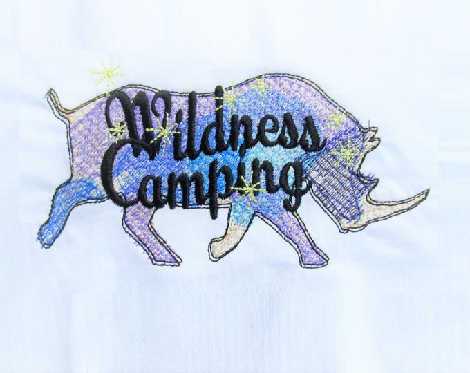 Wildness camping rhino silhouette sketch stitch outline bean quick triple, lock stitch, simply urban embroidery design, wild and free