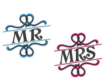 Mr and Mrs - old-fashioned, asymmetrical - great for wedding gifts - machine embroidery designs - 4x4, 5x7