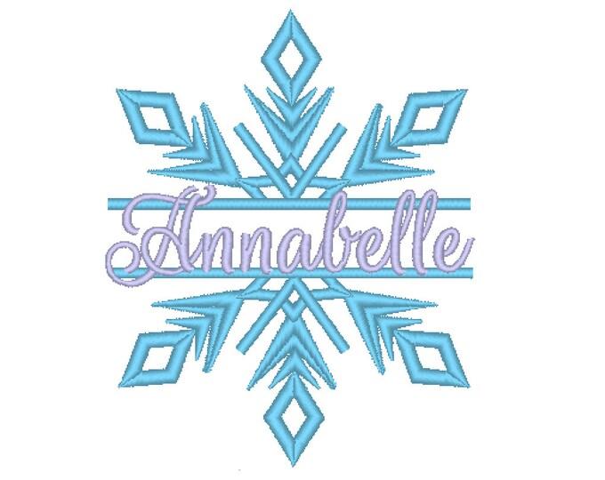 Frozen split snowflake winter queen split snowflake embroidery split design Machine embroidery design 4, 5, 6 in circle