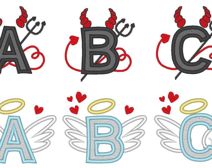 DISCOUNT 30 %  Devil and Angel whole alphabet, font, monograms, machine embroidery applique designs, 2 types, multiple sizes