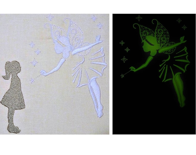 Imaginary Fairy / Glow in the dark special designed machine embroidery / sizes 4x4 and 5x7 / file INSTANT DOWNLOAD