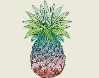 Cute awesome decorative Pineapple welcome flag decoration for summer time - machine esilhouette embroidery