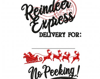 Reindeer express Christmas sack stamp machine embroidery designs assorted sizes 4x4 5x7 and 6x10 Christmas stocking