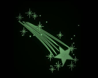 Comet, falling star glow in the dark embroidery / Glow in the dark special designed machine embroidery / sizes 4x4 and 5x7 /
