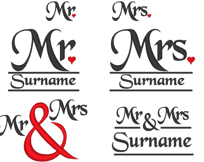 Mr and Mrs wedding gifts monogramming set - machine embroidery designs INSTANT DOWNLOAD