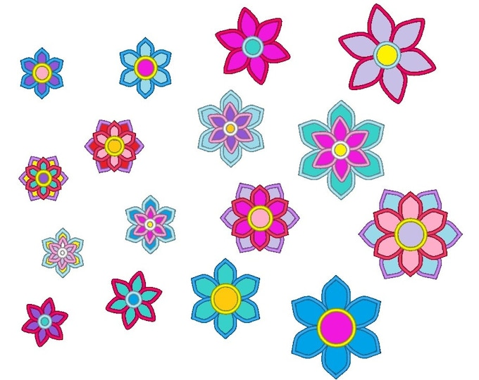 Flowers collection of separate designs in multiple sizes machine embroidery applique designs 2, 2 1/2, 3, 3 1/2 and 4 in INSTANT DOWNLOAD