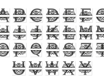 Split garden flag monogram lace swirl block font and mini Font machine embroidery designs set, monogram, alphabet, letters 4, 5, 6 and 8 in